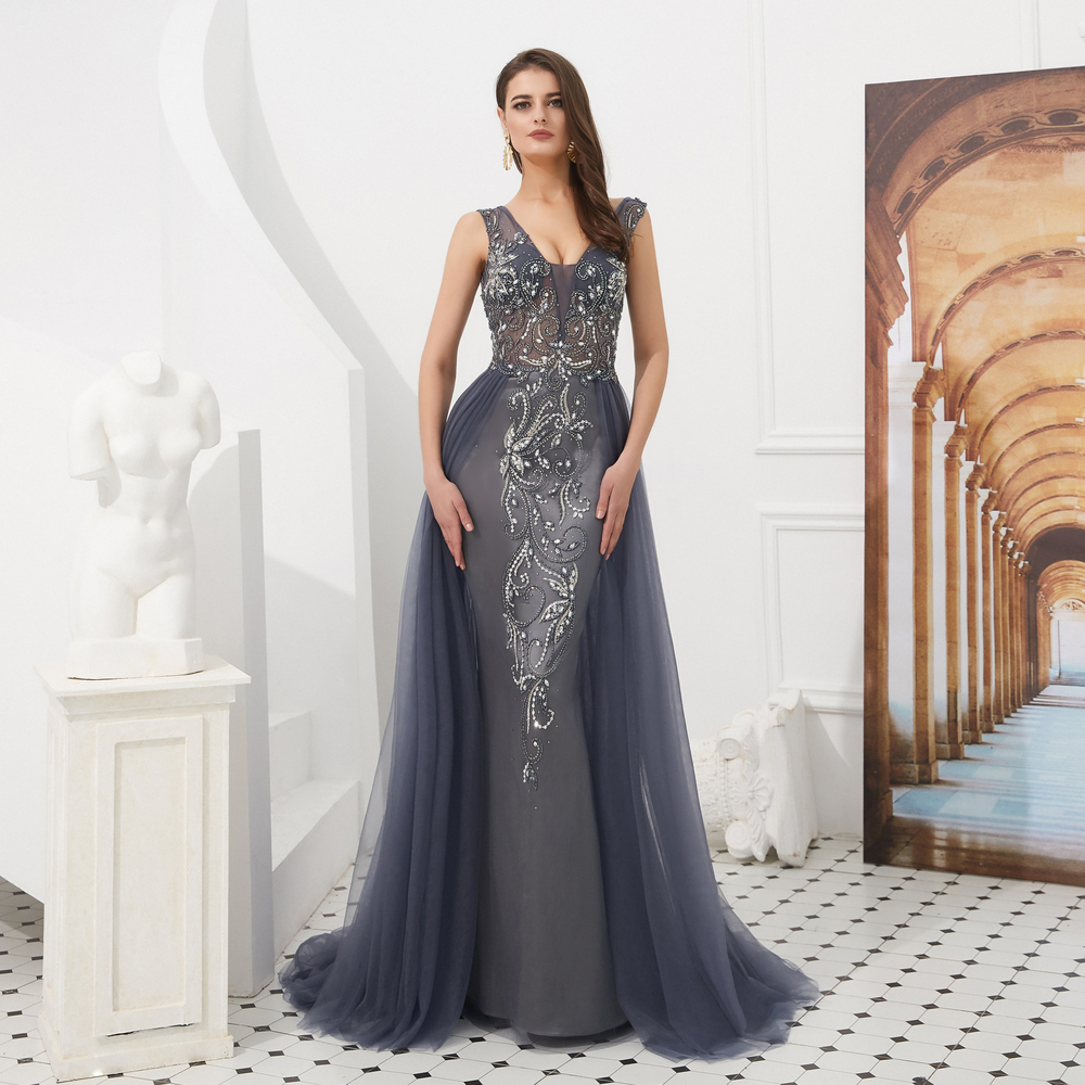 V-neck Gray Long Evening Dresses Detachable Train Mermaid Sleeveless Beaded Sequined Bling Shiny Prom Gowns Vestidos Formales