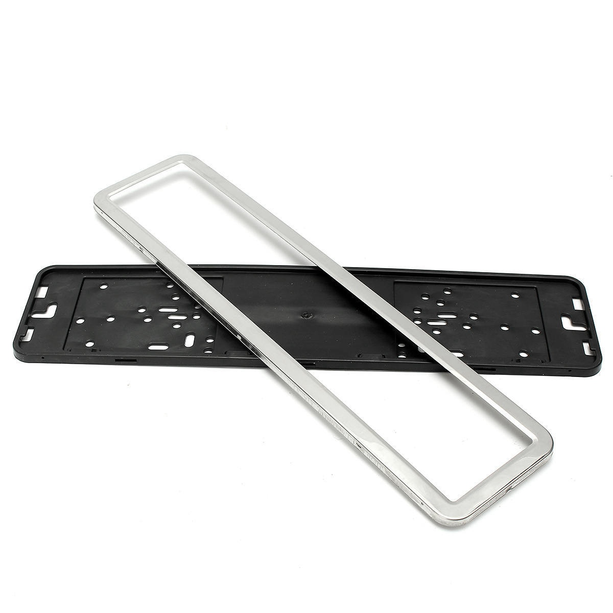 1 Set Stainless Steel European German Russian 8K Car License Plate Frame Number Plate Holder