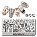 1Pc Nail Stamping Plate Happy Easter Pattern Rectangle Nail Art Stamp Image Template Manicure Stencils Nail Decoration L033