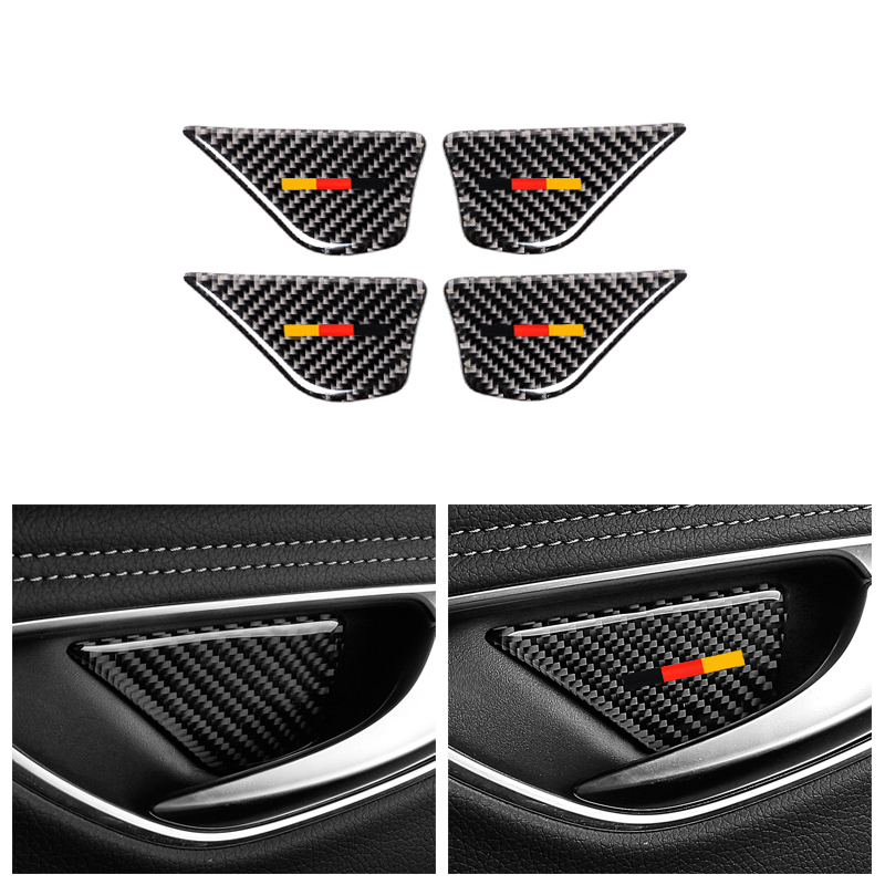 Carbon Fiber Interor Door Handle Bowl Cover Trim For Mercedes Benz C Class W205