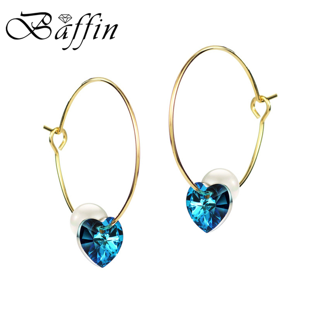 Baffin Blue Crystals From Swarovski Gold Color Hoop Earrings For Women Simulated Pearl Heart Jewelry 2018
