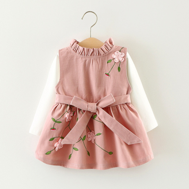 91b62d49059 2017 Baby Girls Dress Autumn 0-3 Year Embroidery 3D Flowers Princess Girl  Dresses Ruffle Collar 2 Pieces Clothing For Children