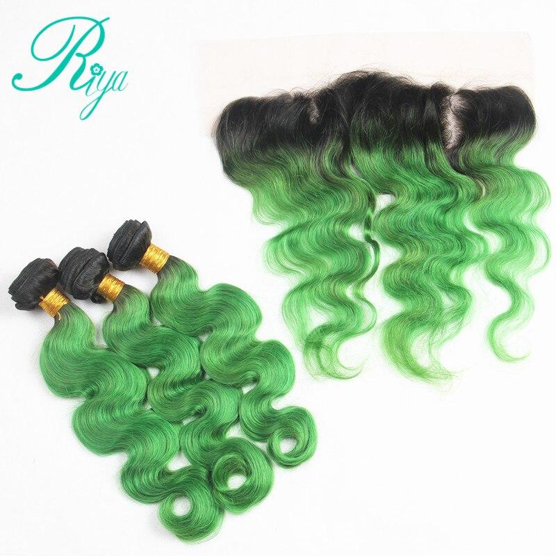 Riya Hair 1B Emerald Green Body Wave Hair 3 4 Bundles With 13 4 Lace Frontal