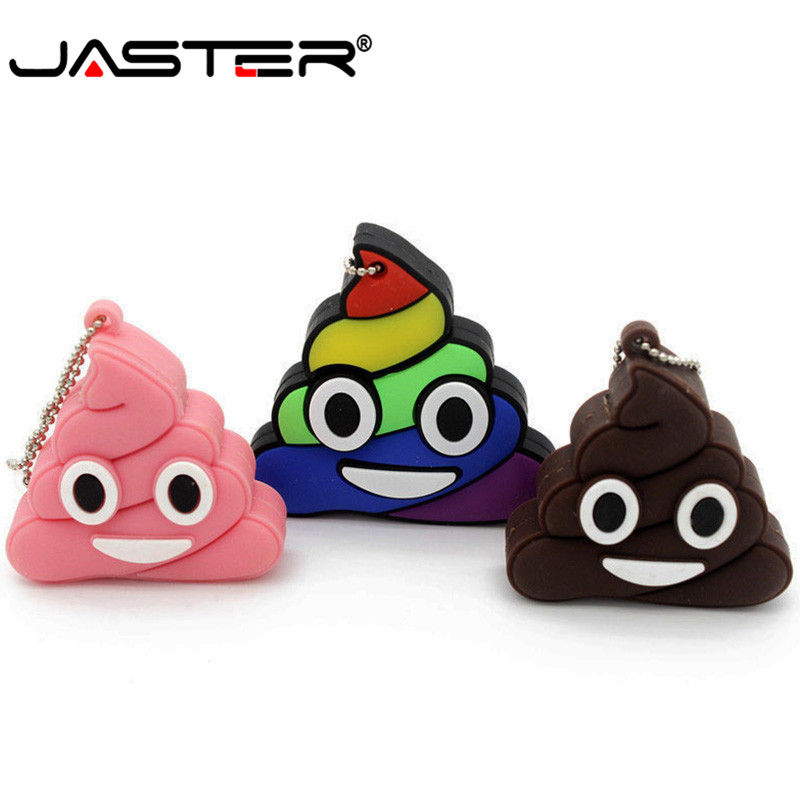 JASTER Usb 2.0 Silicone Usb Pendrive 3 Colors Cute Poop Flashdrive 4gb 8gb 16gb 32gb 64GB Usb Drive Toy Gifts Memoria Usb