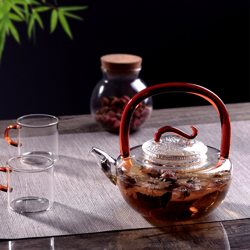 teapot with handle thickening glass teapot filter kettle handmade teapot chinese kung fu tea set