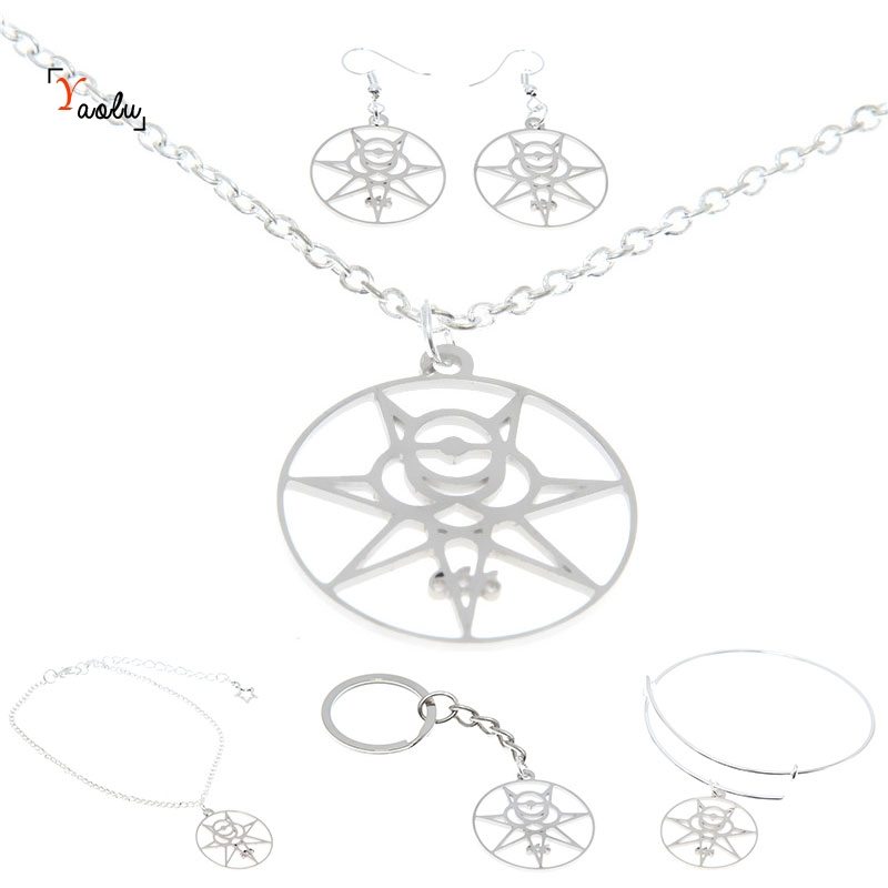 US $4 97 15% OFF|Magic 666 Jewelry set Crowley Secret Seal Thelema Sigil  Illuminati Occult Symbol Charm Necklace Bangle Kerying Earring Ankle-in