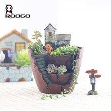 Roogo 꽃을위한 요정 집 냄비 수지 하늘 정원 화분 홈 정원 장식 꽃 냄비 succulents 분재 냄비