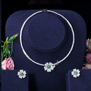 Image 5 - CWWZircons מותג אלגנטי מיקרו פייב ירוק CZ Zirconia אבן פרח קולר שרשרת עגיל תכשיטים סטים לנשים T091