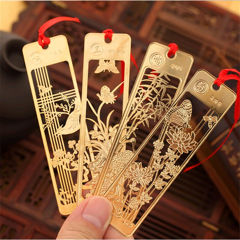 1 Pc Cute Hawaiian Beautiful Chinese Style Retro Fine Metal Bookmarks Student And School