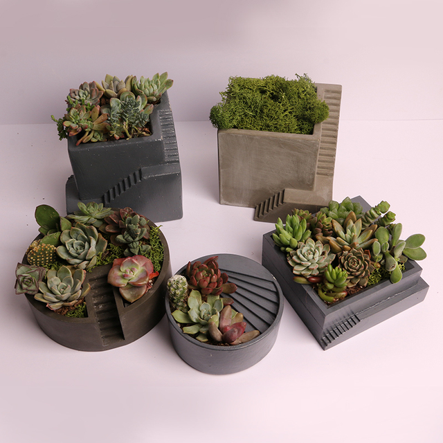 Stairs cement succulent plants silicone mold Stepped concrete flowerpot mould plaster handicraft mould