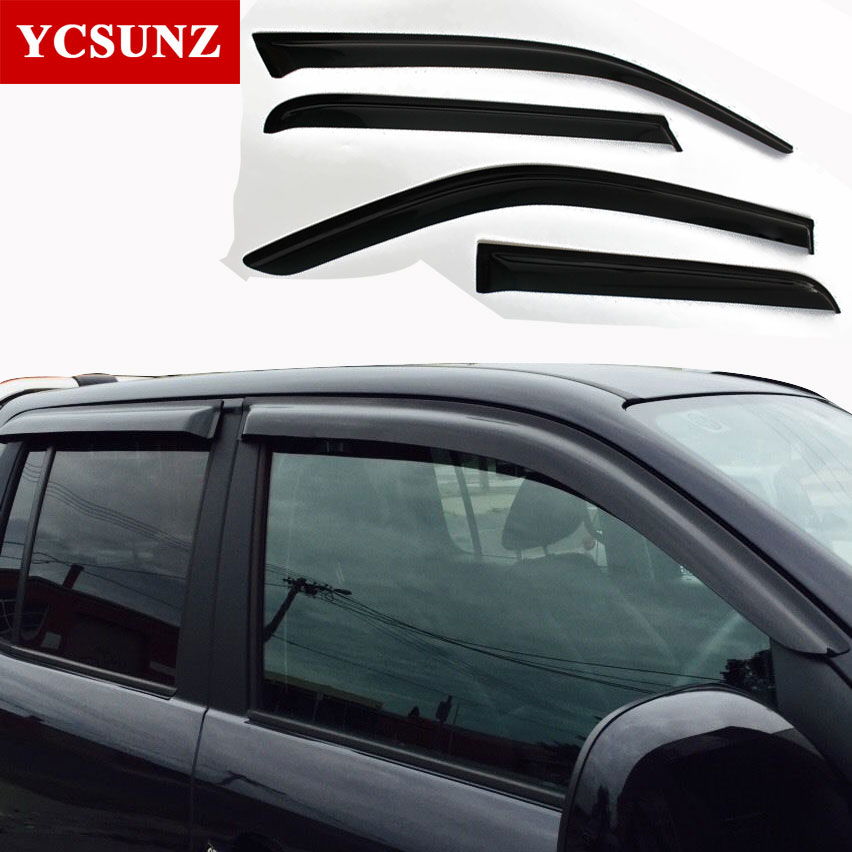 For Volkswagen Amarok Car Wind Deflector Black Car Window Deflectors Visor Vent rain/sun/guard For VW Amarok 2009-2014 VW Shade 4pcs set smoke sun rain visor vent window deflector shield guard shade for cadillac xt5 2016 2017