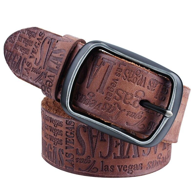 Fashion Italian Genuine Leather Men's Belt Embossed Letter Belts Strap Casual Male Belts For Jeans