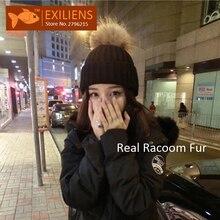 2017 Lady Real Racoon Fur Pom pom Wool Winter Hat For Women Warm Knitted Bobble Hats Caps Hip Hop Skull Cap Bonnet Black Hot