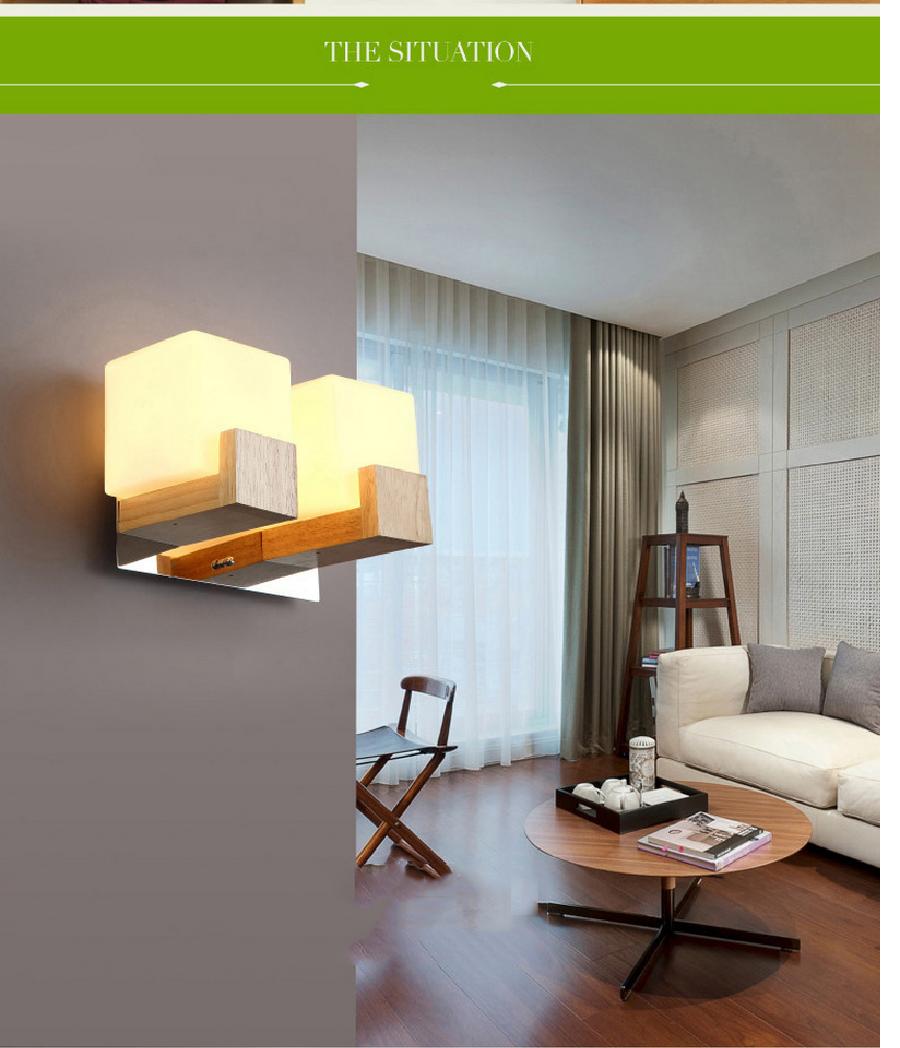 Chambre de luxe Lampe de Mur En Bois Nordique Style Japonais Monté