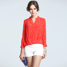 2017 News Women Blouses Spring New Pure Silk Blouse Collar Printed Long Women Shirts