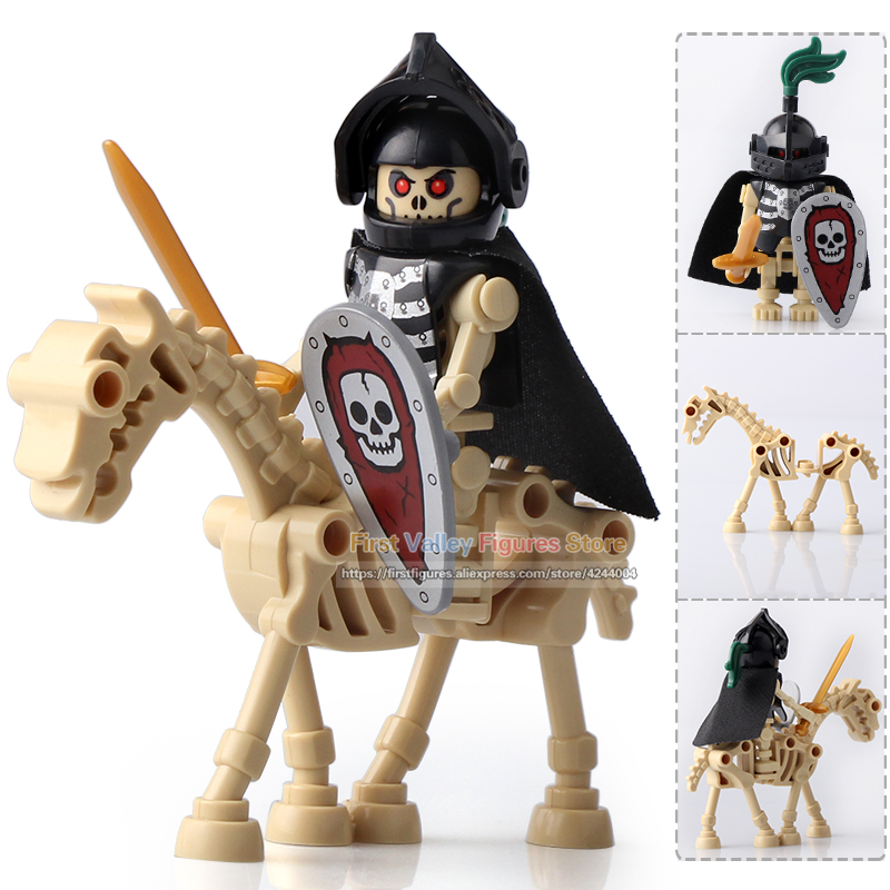 Dr.tong Single Sale Ax9815 Legoingly Medieval Castle Skeleton Knights Gladiatus Skeleton Horses Building Blocks Bricks Kids Toys #4