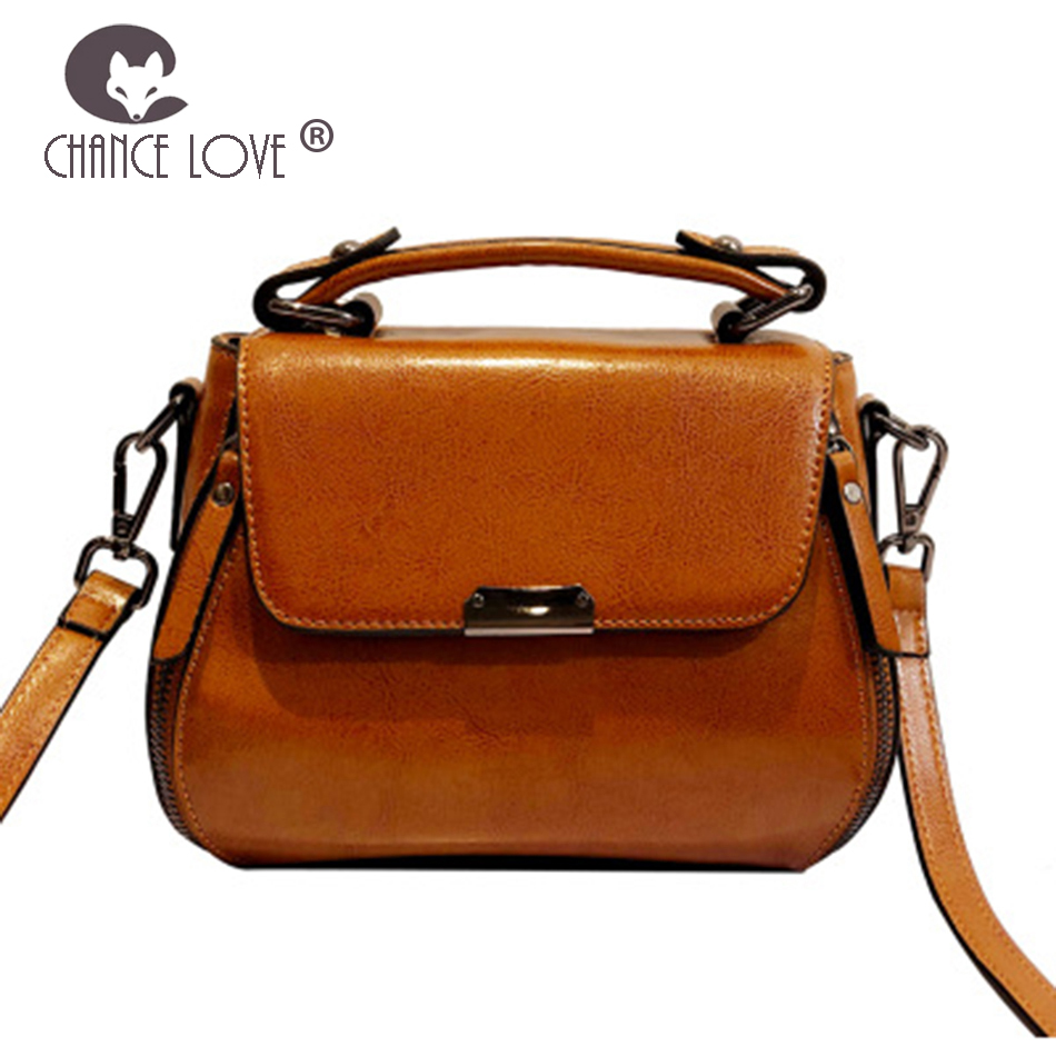 Chance Love 2018 new Genuine leather handbags women's bag oil wax leather simple fashion wild handbag trend red brown green bag chance love 2018 new genuine leather women s handbag oil wax leather fashion wild crocodile pattern shoulder bag messenger bag