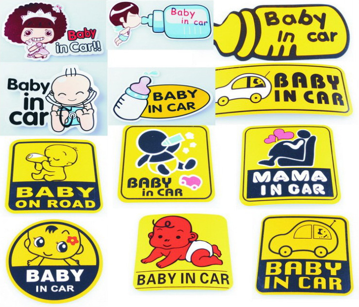 2015 Hot Sale 12 Style Car stickers Auto Car Styling Baby in Car Warning Mark Sticker Decal Waterproof Stickers