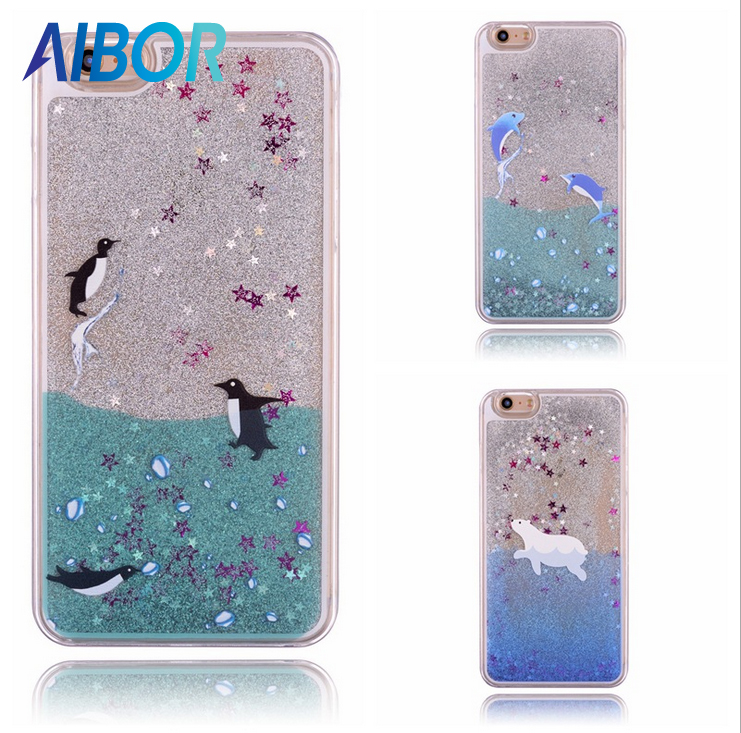 AIBOR Quicksand liquid sea polar bear whale dolphin shark penguin case For iphone X 5S SE 6 6S 7 8 PLUS S6 S7 EDGE S8 NOTE 5 4