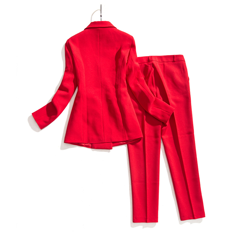 Women's Suit Set Professional Double-Breasted Red Suit Jacket Slim Nine Pants Two-Piece 2019 Summer New Women's Clothing