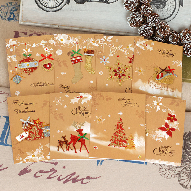cloth patch christmas cards vintage kraft paper festival congratulation card for others fine gift christmas decorations
