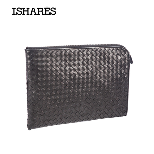 ISHARES Brand new style men genuine leather casual woven calf skin zipper clutches cowhide leather weave document case IS169-2