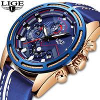 Reloj LIGE para hombre, reloj de cuarzo deportivo de moda, Relojes de Cuero para hombre, reloj de negocios de lujo azul a prueba de agua, reloj para hombre