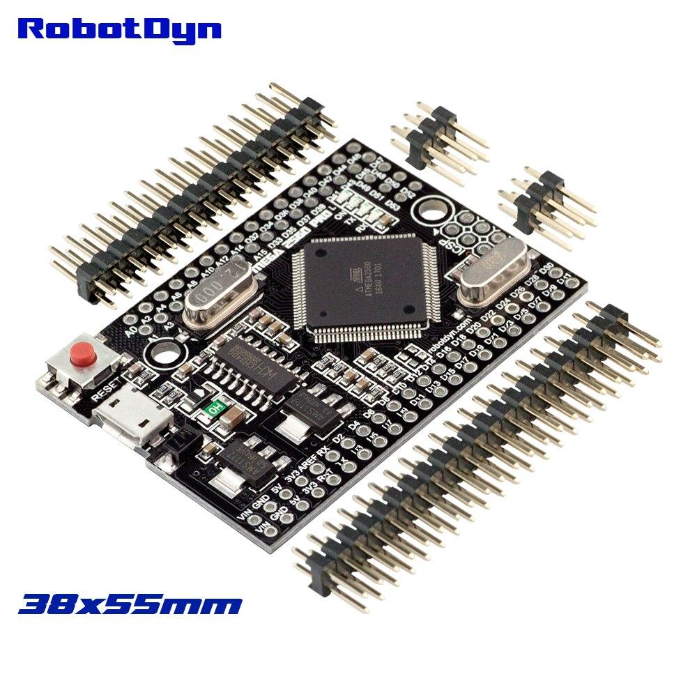 Mega 2560 PRO (Embed) CH340G/ATmega2560-16AU, con cabezales macho. Compatible con Arduino Mega 2560.