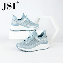 JSI Casual Flats Cow Leather Breathable Lightweight Woman Sneaker Shoes Round Toe Lace-up Mesh Comfortable Light Flats JO185 недорого