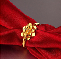 Solid 999 24k Yellow Gold Ring/ Women's Wedding Flower Ring/ Us Size 4 12