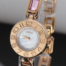 Top Julius Lady Women's Wrist Watch Fashion Hours Retro Crystal Rhinestone Bracelet Chain Business Shell Girl Birthday Gift