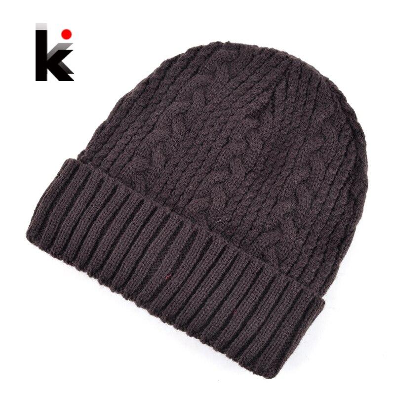 2017 Winter beanie mens skullies knitted wool stocking hat warm casual cap bonnet plus velvet gorro hants for men beanies skullies