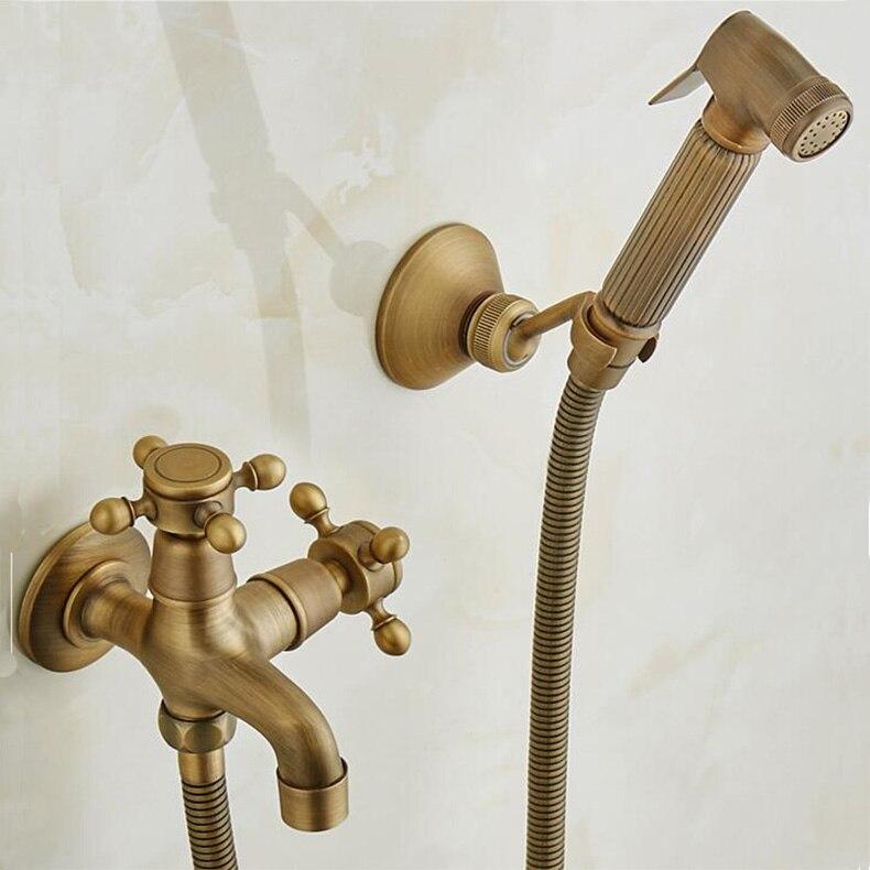 Bidet en laiton siège de toilette pistolet pulvérisateur en laiton massif ensemble de douche hygiénique bidet Portable avec support de douche antique en laiton et tuyau 1.5 m