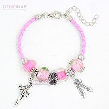 Trança pulseira de couro rosa lamwork murano grânulo de vidro coroa ballet sapatos bailarina charme pulseiras jóias presente bijoux pulsera