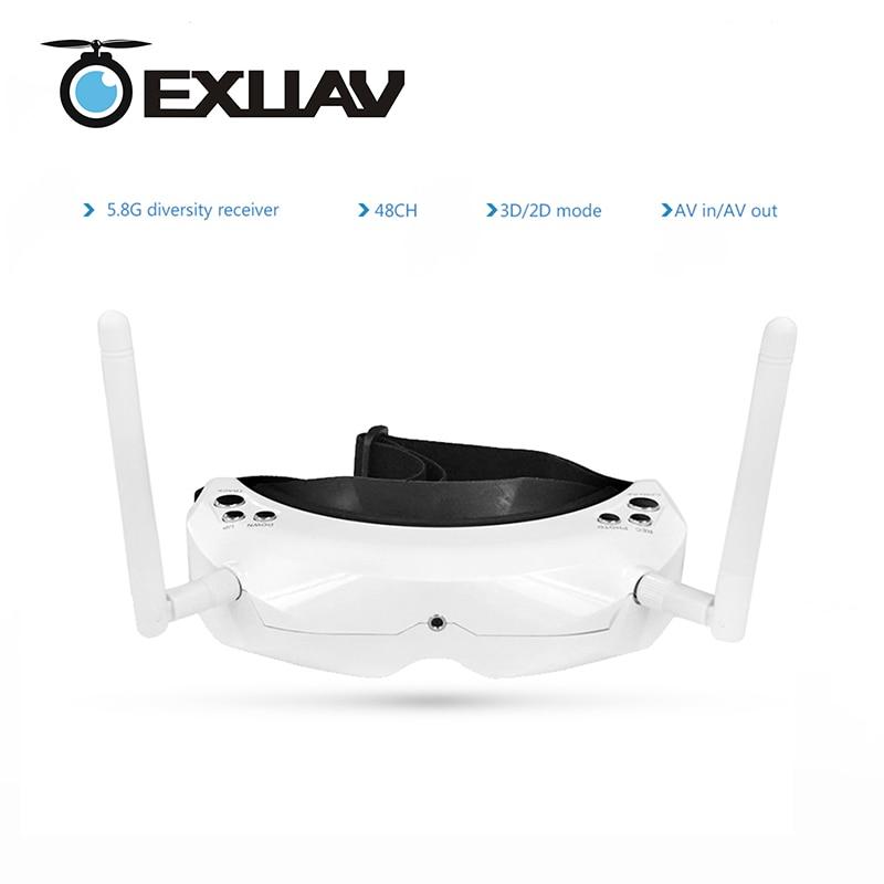 EXUAV Skyzone SKY02S V+ 3D FPV Goggle/Video Glasses 48CH 5.8G Diversity Receiver Head TrackCamera for Aerial Photo skyzone sky02s v 3d fpv goggle video glasses with 3d 2d mode 48ch 5 8g diversity receiver head track camera for rc quadcopter