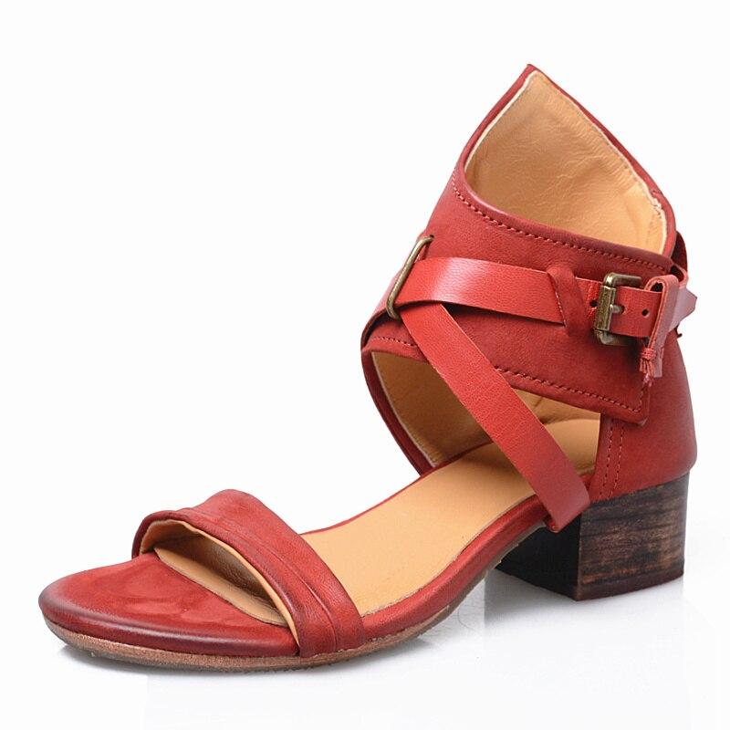 Prova perfetto 최신 스퀘어 발 뒤꿈치 열기 정면 정품 가죽 펑크 스타일 여성 샌들 버클 스트랩 솔리드 컬러 여름 신발 레드-에서중 힐부터 신발 의  그룹 2