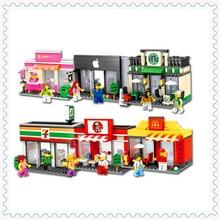 6 шт./лот город серии мини-стрит магазин Кофе магазине Building Block Игрушечные лошадки hsanhe подарок для детей Совместимость legoe