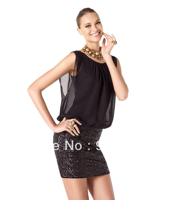 Sexy Black Sequined chiffon bodice Lady Party Dress Custom Made Cocktail Dress Gown Hot Fashion Cheap