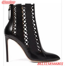 New Arrival Hollowed Out Pointed Toe Women Ankle Boots Super High Heels Shoes Female Thin Heels Women Boots Zipper Casual Shoes