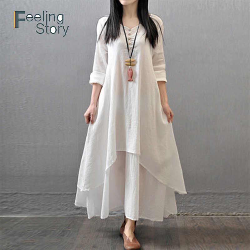 Бохо белое платье из хлопка и льна Весна 2019 женские с длинным рукавом и круглым вырезом Весна Разделение длинное платье 5X 6xlarge Размеры Костюмы для Для женщин