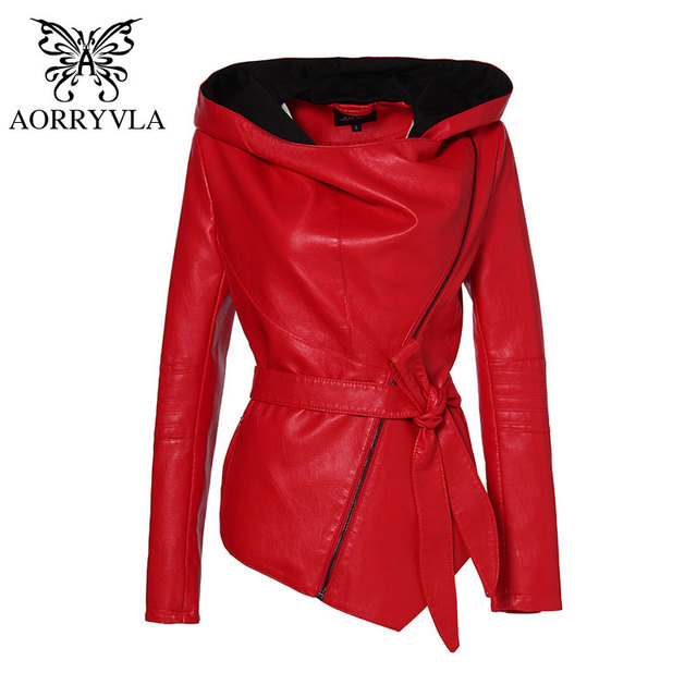 AORRYVLA 2020 New Spring Women Slim Leather Jacket Hoodies Full Sleeve Short Length Casual Black Faux Leather Jacket With Belt
