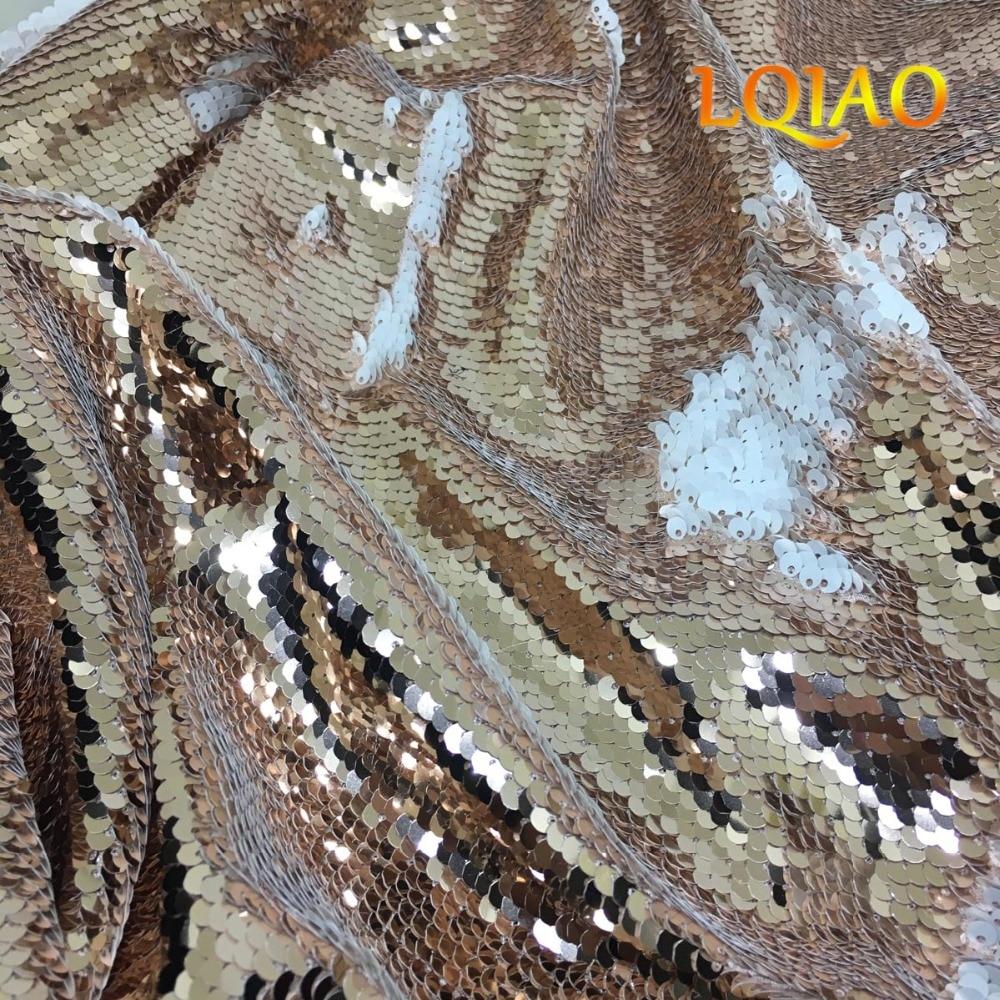 3 미터 (1.25 m x 3 m) 가역 인어 물고기 스케일 스팽글 패브릭 로즈 골드 화이트 스팽글 원단 드레스/비키니/쿠션 커버-에서직물부터 홈 & 가든 의  그룹 1