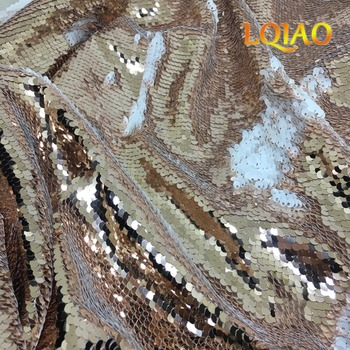 3 Meters(1.25mx3m) Reversible Mermaid Fish Scale Sequin Fabric Rose Gold-White Sequin fabric for Dresses/Bikini/Cushion Cover image