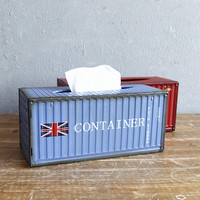 Creative Retro Metal Container Tissue Box Vintage Industrial Style Paper Storage Holder Napkin Case Desktop Decoration