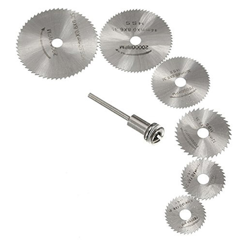 Furniture accessories 7pcs HSS Rotary Tools Circular Saw Blades Cutting Discs Set Drill Mandrel Cutoff Cutter Power Tools omy 6pcs set mini circular saw blade woodworking cutting discs drill for rotary tools dremel metal cutter power tool mandrel set