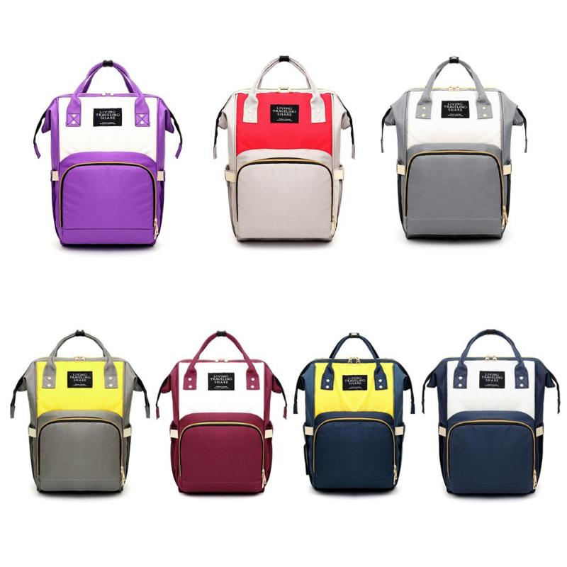 Hit Color Mommy Travel Backpacks Large Canvas Maternity Nappy Bags w/ Hook