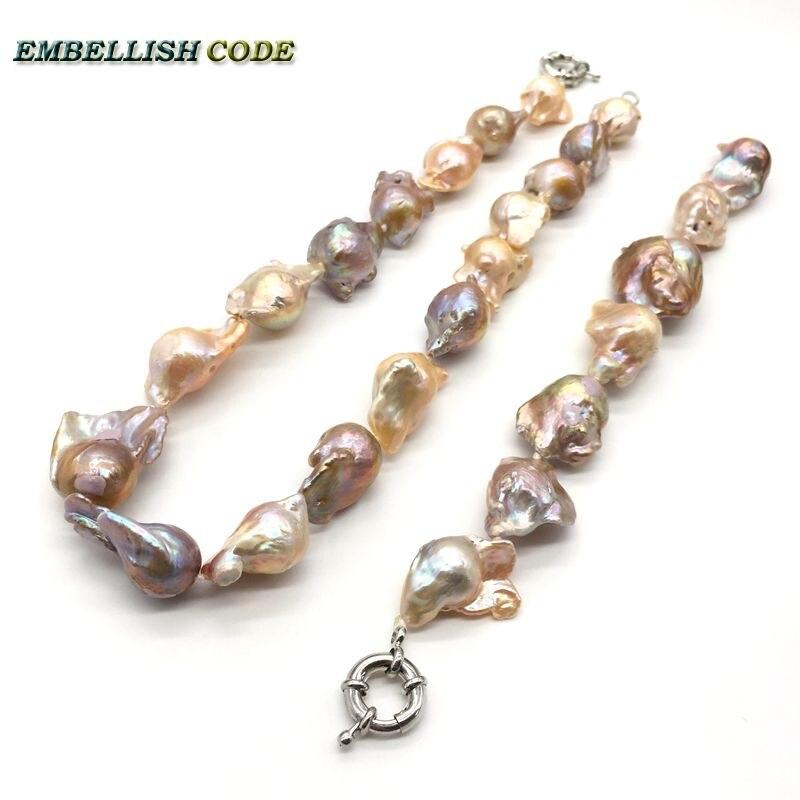 Grand énorme perles baroque déclaration collier bracelet ensemble mélangé nucléé baroque boule de feu irrégulière réel naturel perle élégant