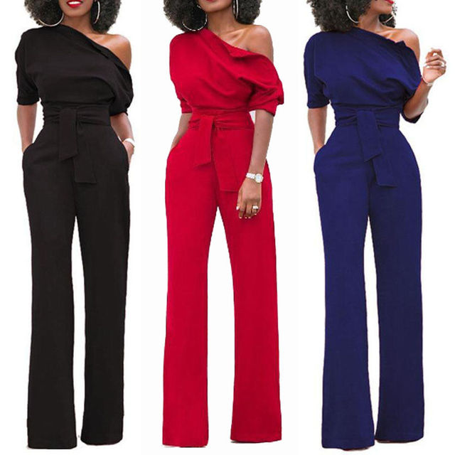 f23b58cb785 Womens Ladies Clubwear Playsuit Bodysuit Party Jumpsuit Romper Wide Leg Long  Trousers Black Red Blue