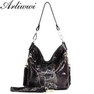 Image 3 - Модные женские сумки через плечо из 100% натуральной кожи, дизайнерские блестящие тисненые женские сумки тоуты из натуральной замши и воловьей кожи GL03