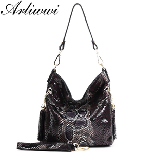 Image 3 - Fashion 100% Real Leather Lady Shoulder Bags Designer Shiny Boa Pattern Embossed Women Genuine Suede Cowhide Totes GL03